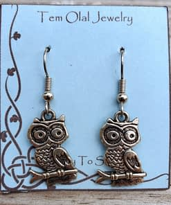 Owl on branch Earrings Tem Olal