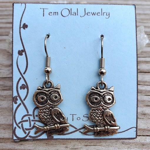 Owl on branch Earrings Tem Olal