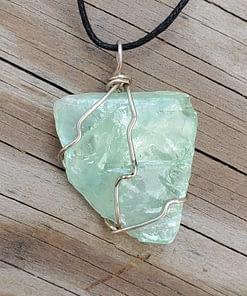 Emerald Calcite Wire Wrap Pendant1