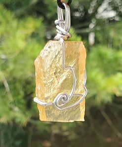Honey Calcite Wire Wrap Pendant1