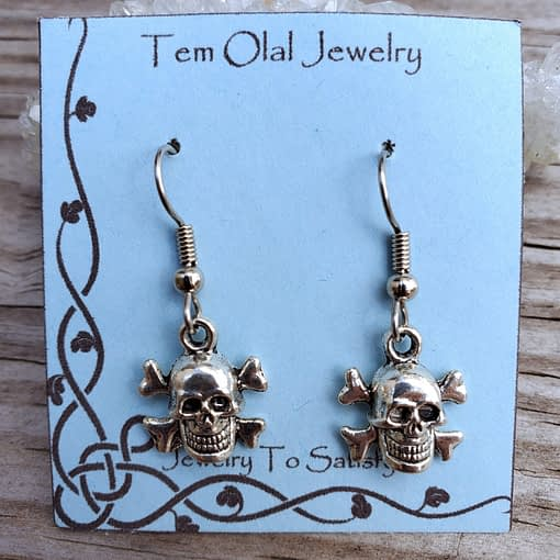 Small Skull Crossbones Earrings Tem Olal